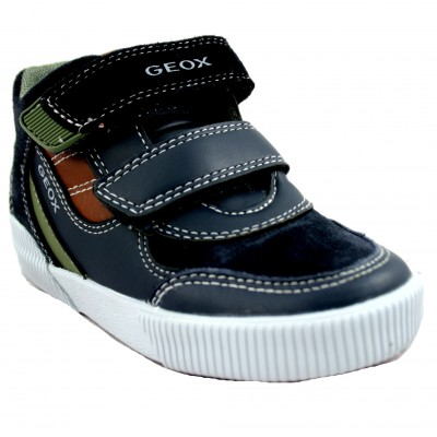 Geox Kilwi - Kids' Leather Shoe With Velcro Closure and Details in Orange and Green