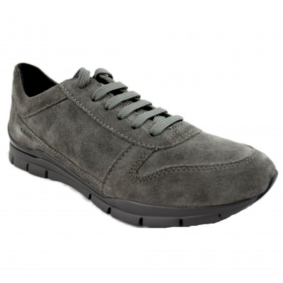 Geox Sukie - Comfortable Gray Leather Women's Sport Shoe with Removable Insole