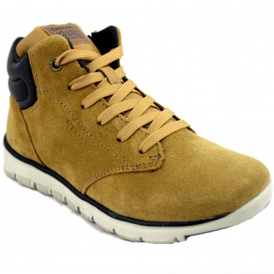 Geox Xunday - Boy Mustard Turned Leather Boots with Lace-up Closure and Zipper