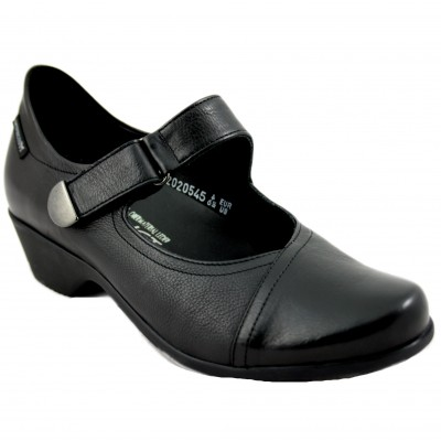 Mephisto Reine - Women's Leather Shoe With Velcro Buckle and Low Heel