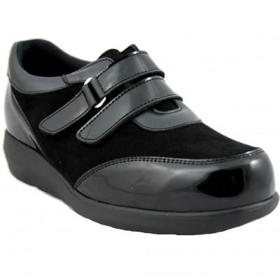 Pinosos 7670-H - Very Light Black Women's Shoes with Two Velcro Closures Special Wide Diabetic Feet