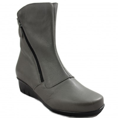 Valerias 5558 - Dark Gray Leather Half Cane Women's Boots with Zipper