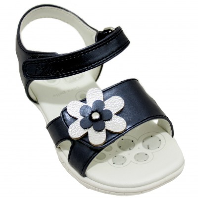 Chicco Cecilia - Girls Leather Sandal with Flower Detail and Velcro Ankle and Front Closure